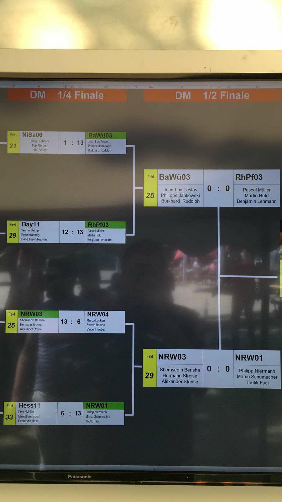 Ergebnisse 4tel A & Halbfinalauslosung