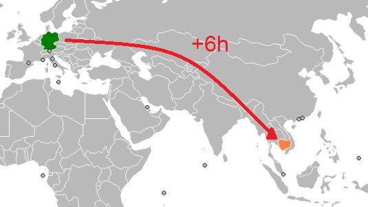 Zeitverschiebung Kambodscha