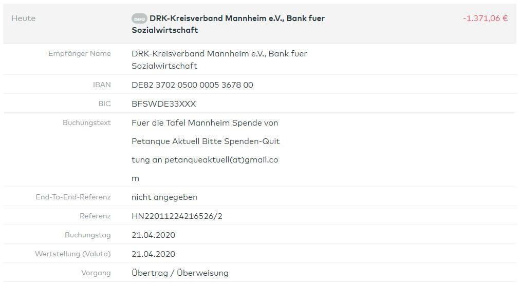 Überweisung Tafel Mannheim